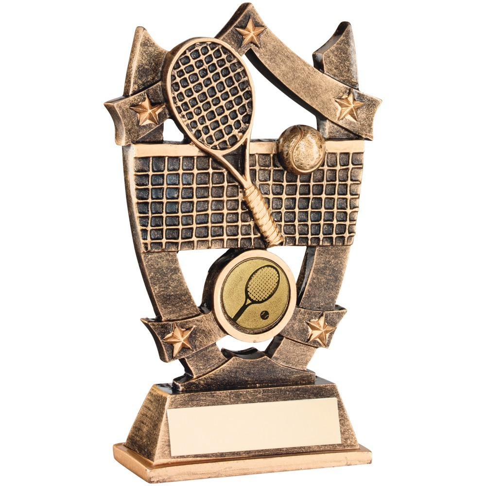 Star Layered Shield Tennis Resin Award - Available in 2 sizes