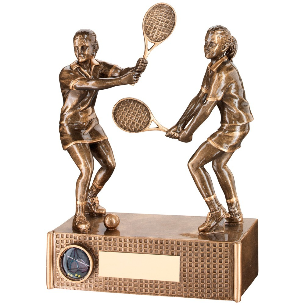 Bronze And Gold Tennis Female Doubles Trophy