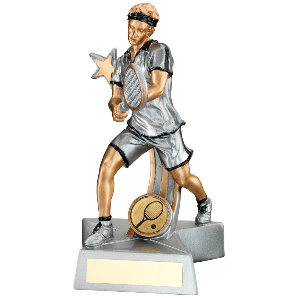 Silver, Gold And Black Resin Male Tennis 'Star Action' Figure Trophy