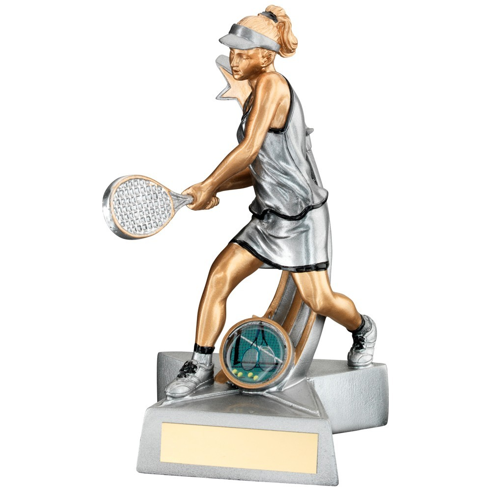 Silver, Gold And Black Resin Female Tennis 'Star Action' Figure Trophy