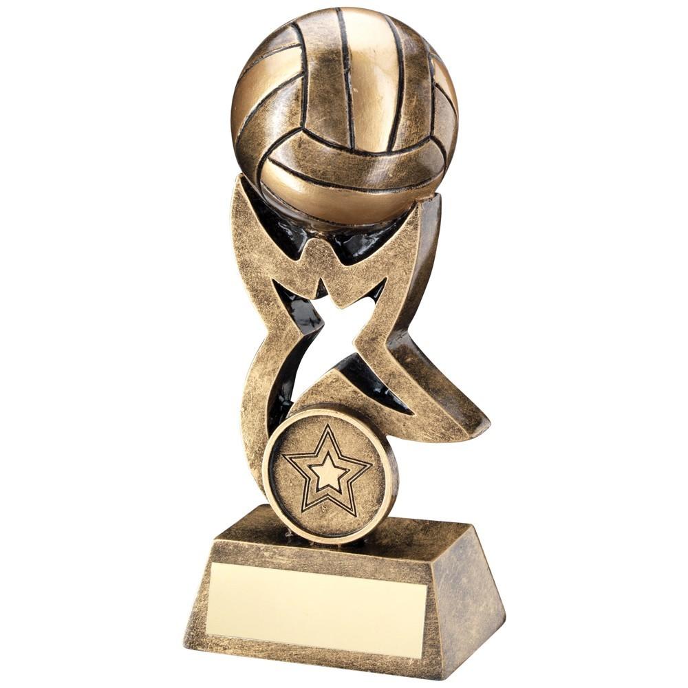 10.5cm Bronze & Gold Gaelic Football On Star Trophy Riser Trophy