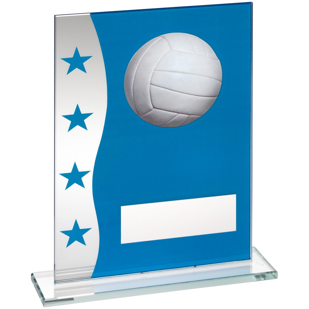 Blue/Silver Printed Glass Plaque With Gaelic Football Image Trophy - 6.5 inch