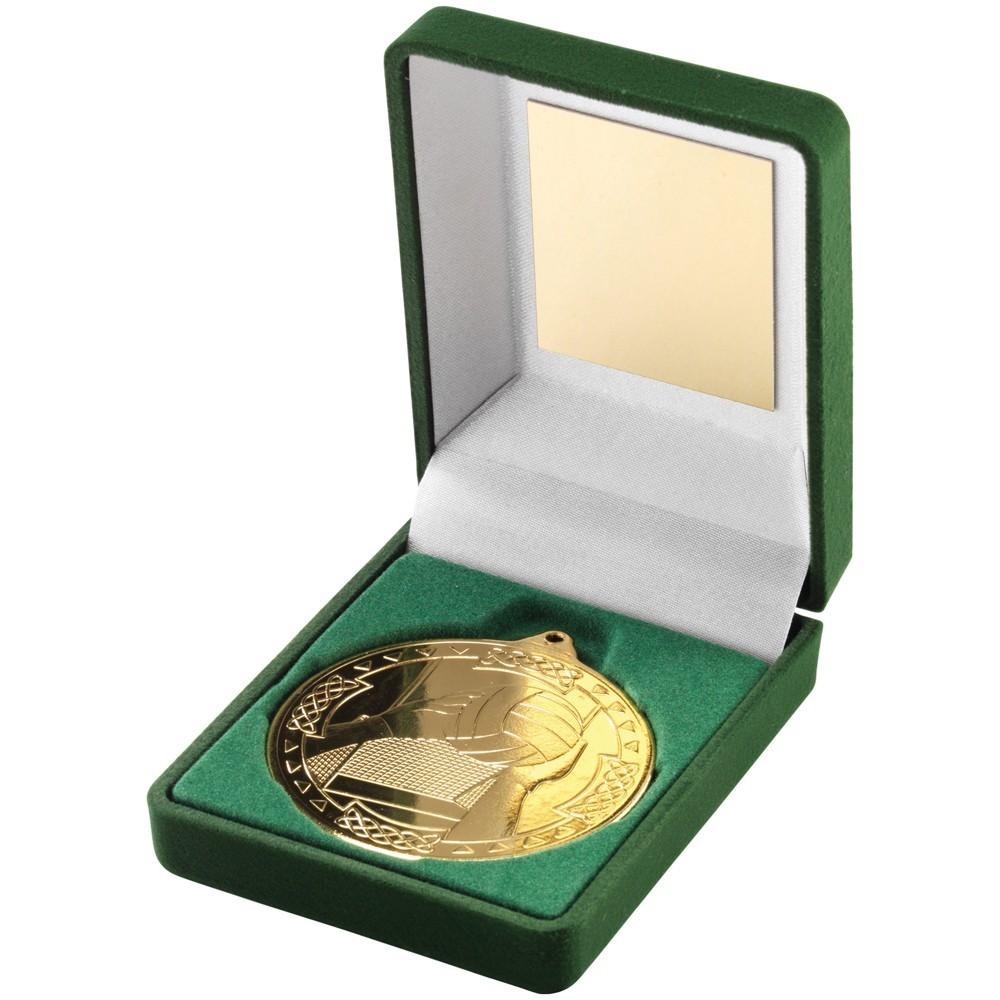 9cm Green Velvet Box & Gaelic Football Medal - Gold 3.5In