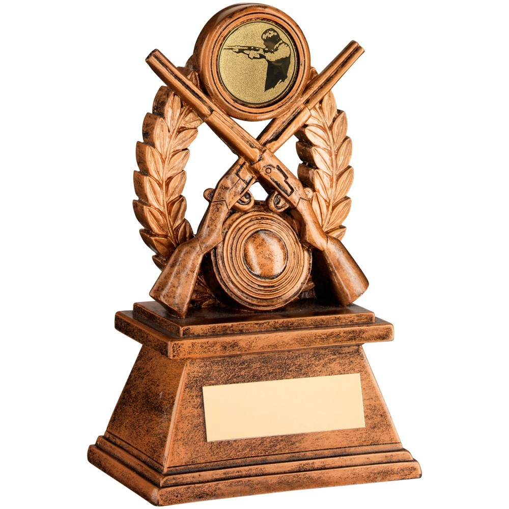 Bronze And Gold 'Shooting' Oval Wreath Trophy