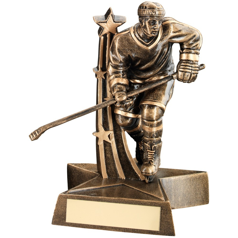 Bronze And Gold Male Ice Hockey 'Star Action' Figure Trophy