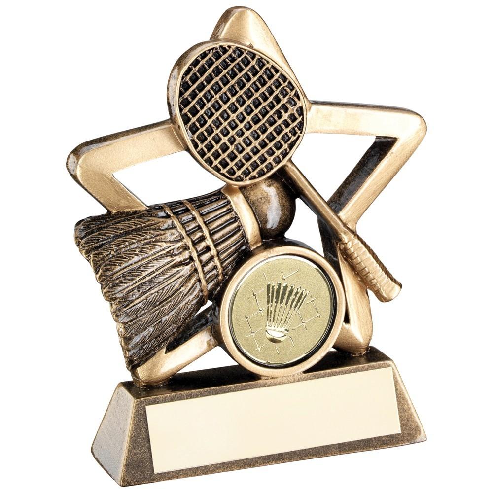 9.5cm Bronze & Gold Badminton Mini Star Trophy