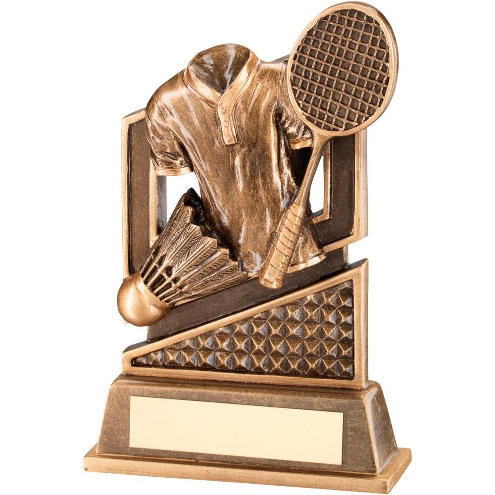 Bronze And Gold Badminton Diamond Series Trophy