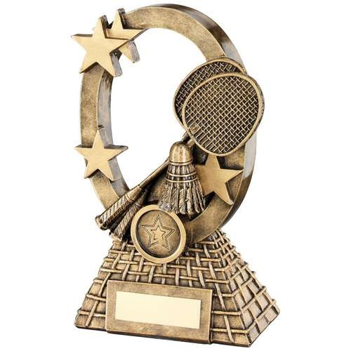 Brz/Gold Badminton Oval/Stars Series Trophy - Available in 2 Sizes