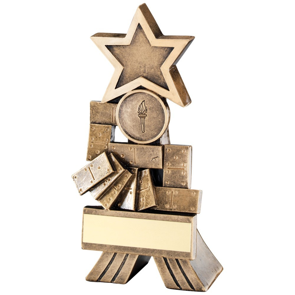 13cm Bronze & Gold Dominoes Shooting Star Trophy - 5In