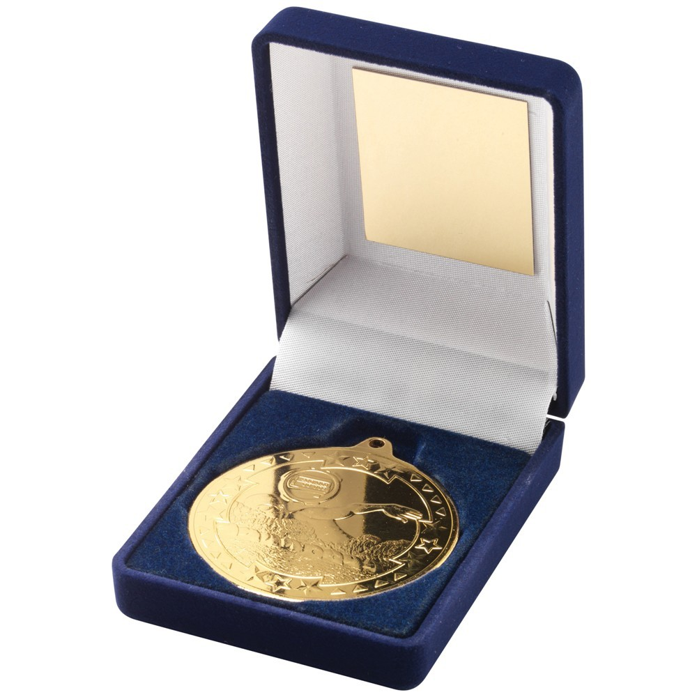 9cm Blue Velvet Box & Swimming Medal - Gold 3.5In