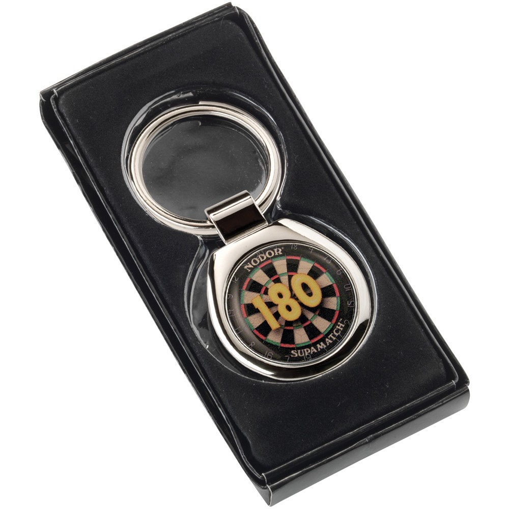 "3cm Darts ""180"" Metal Keyring - Round 1.25In"