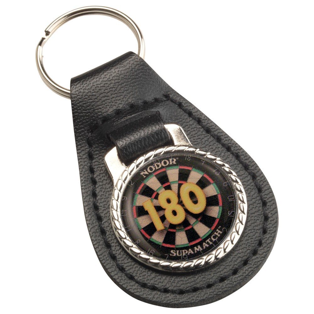 "6.5cm Darts ""180"" Black Leather Key Fob - 2.5In"