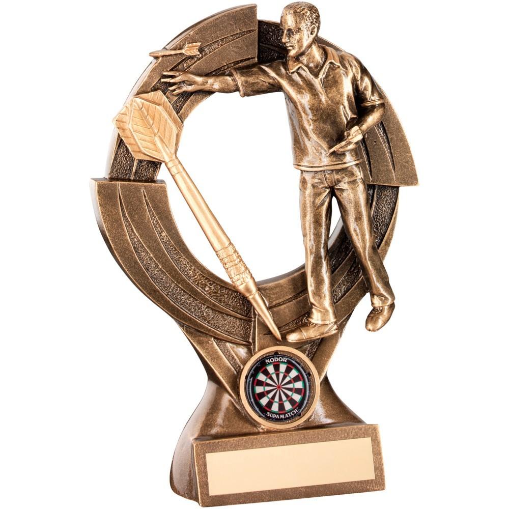15.5cm Bronze & Gold Male Darts 'Quartz' Figure Trophy