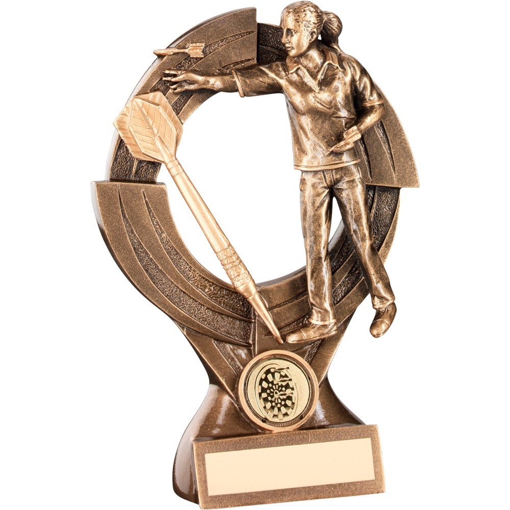 Bronze And Gold Female Darts 'Quartz' Figure Trophy