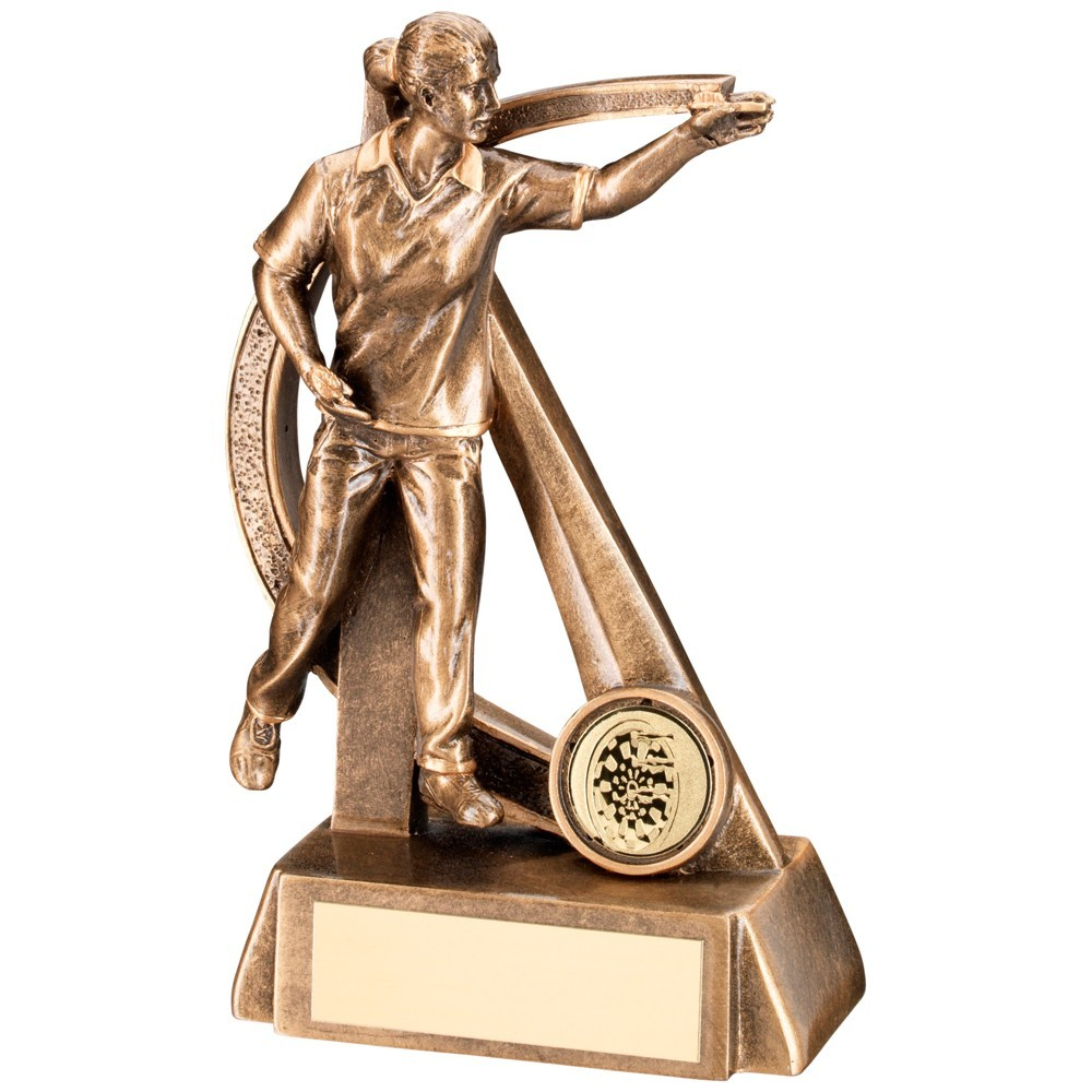 Bronze And Gold Female Darts Geo Figure Trophy