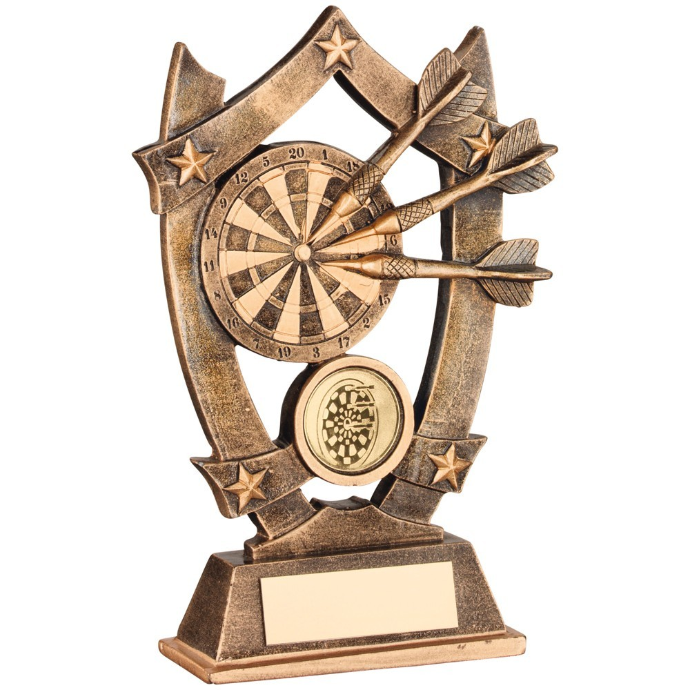 Bronze And Gold Resin Darts 5 Star Trophy