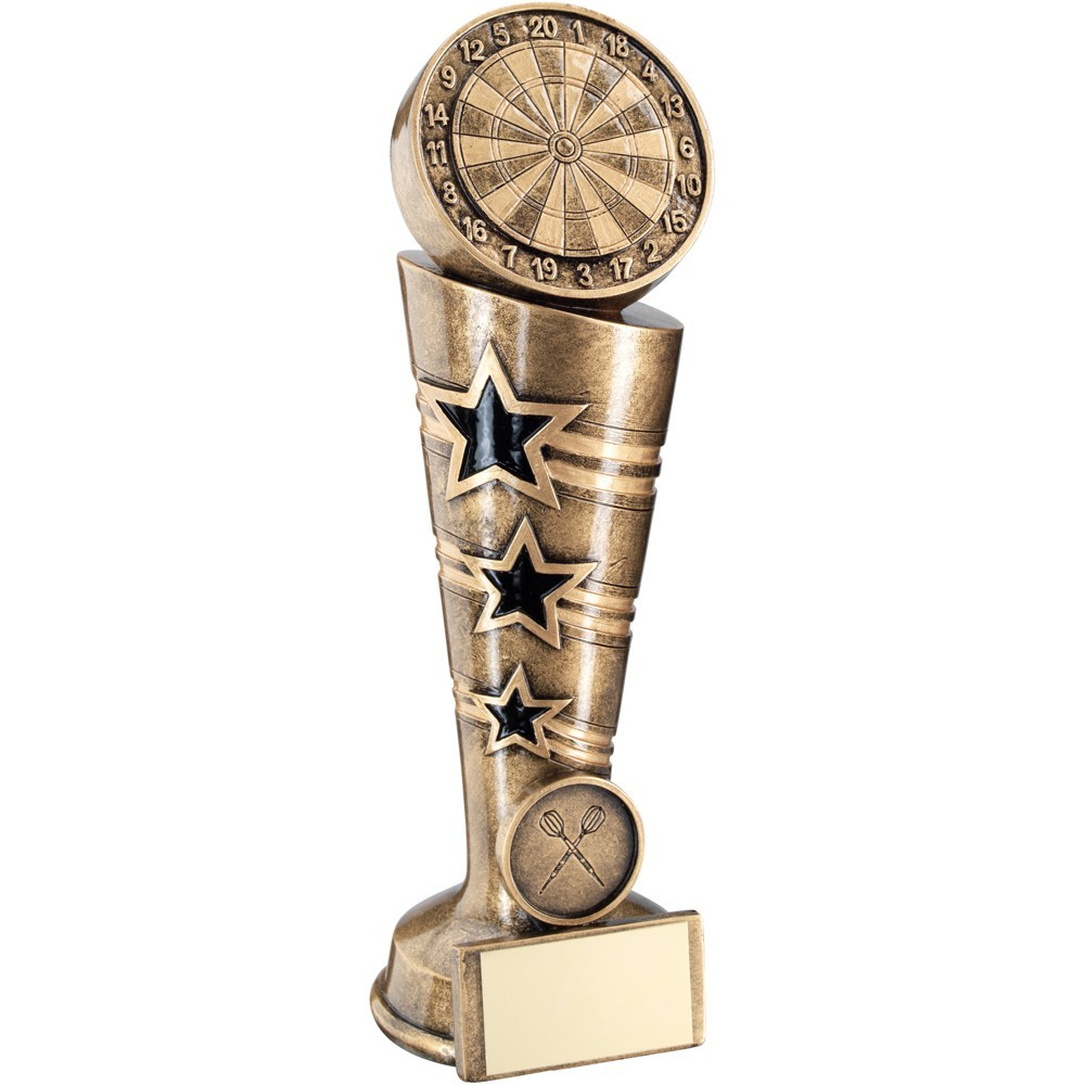 Bronze And Gold 3 Star Darts Column Trophy