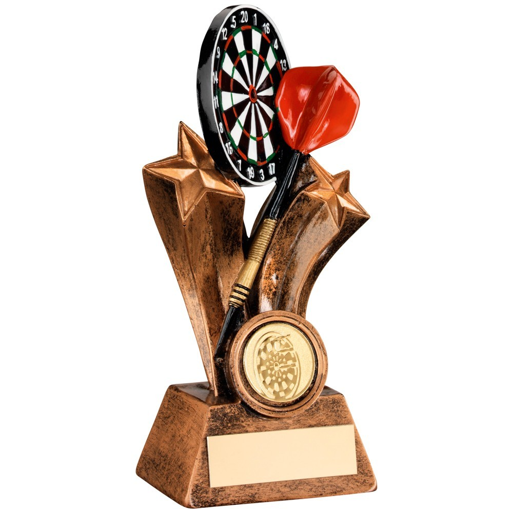 Bronze And Gold/Multi Resin Dartboard With Dart Trophy