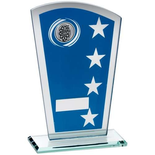 16.5cm Blue/Silver Printed Glass Shield With Darts Insert Trophy