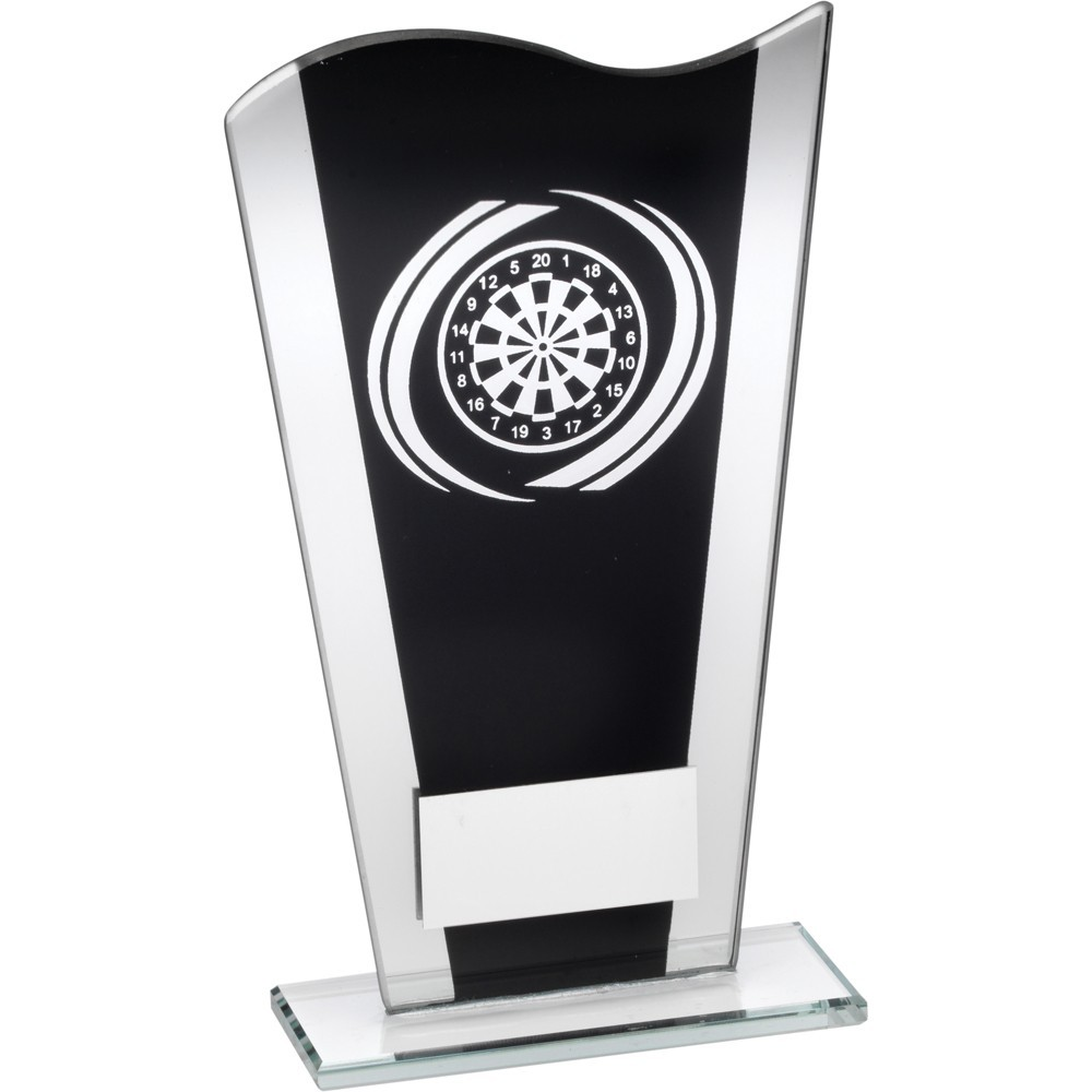 Black And Silver Printed Glass Plaque With Silver Darts Swirl Trophy