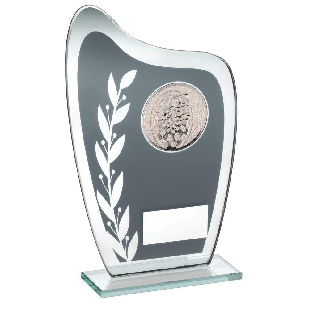 16.5cm Grey & Silver Glass Plaque With Darts Insert Trophy - 6.5In