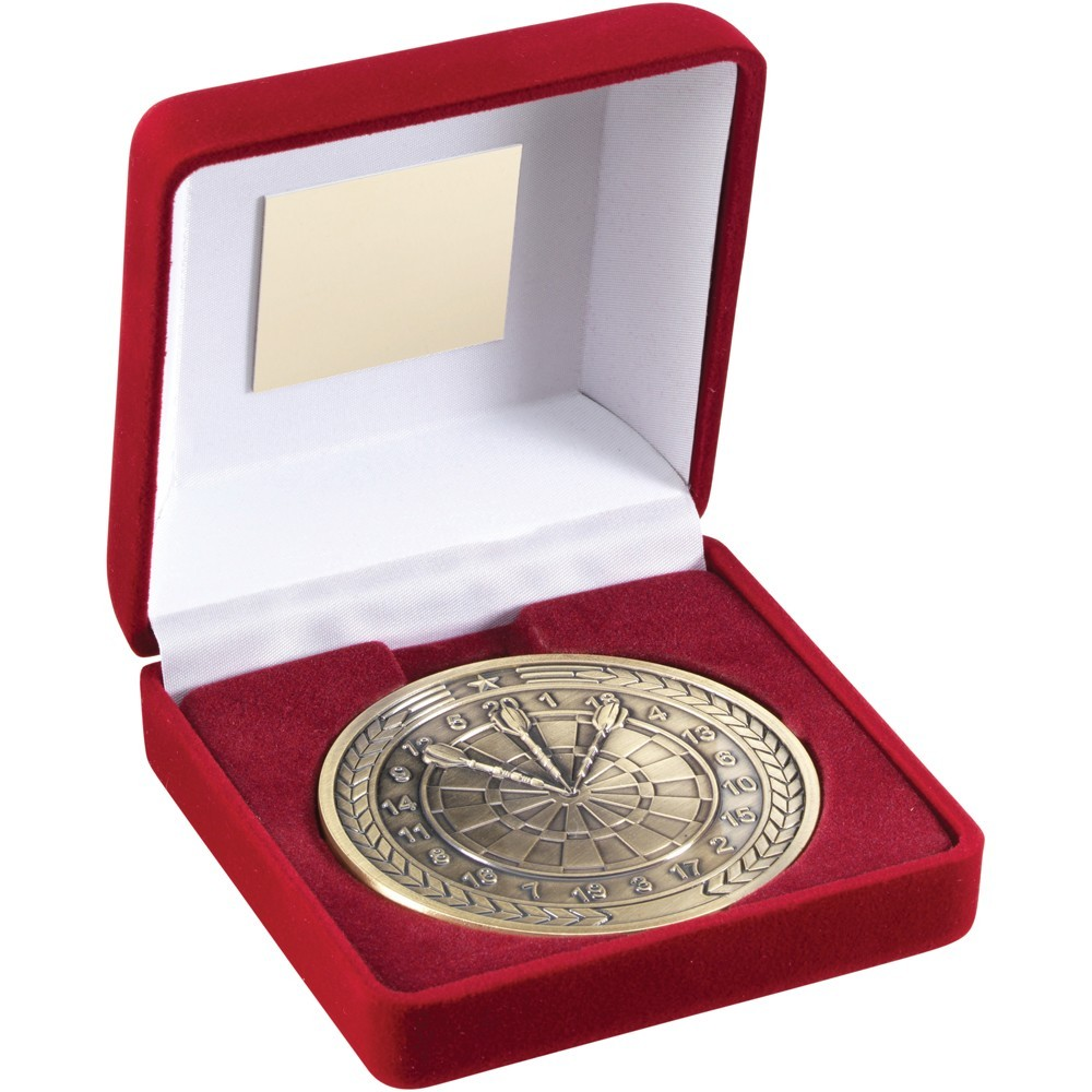 Red Velvet Box With Medal Darts Trophy