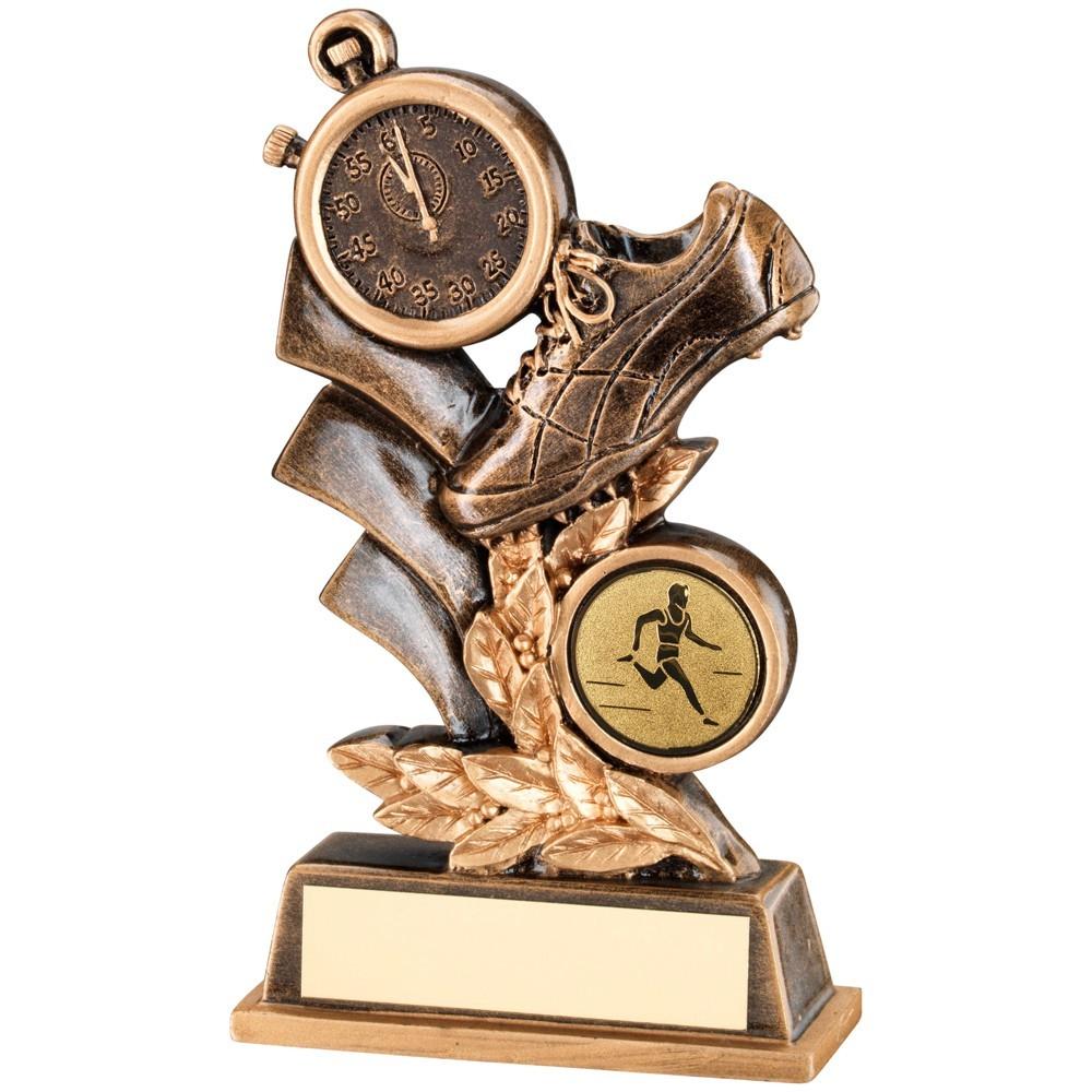 Bronze And Gold Athletics Leaf Plaque Trophy