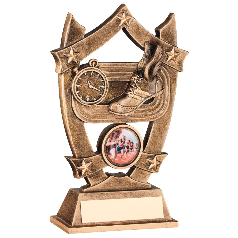 Bronze And Gold Athletics 5 Star Shield Trophy
