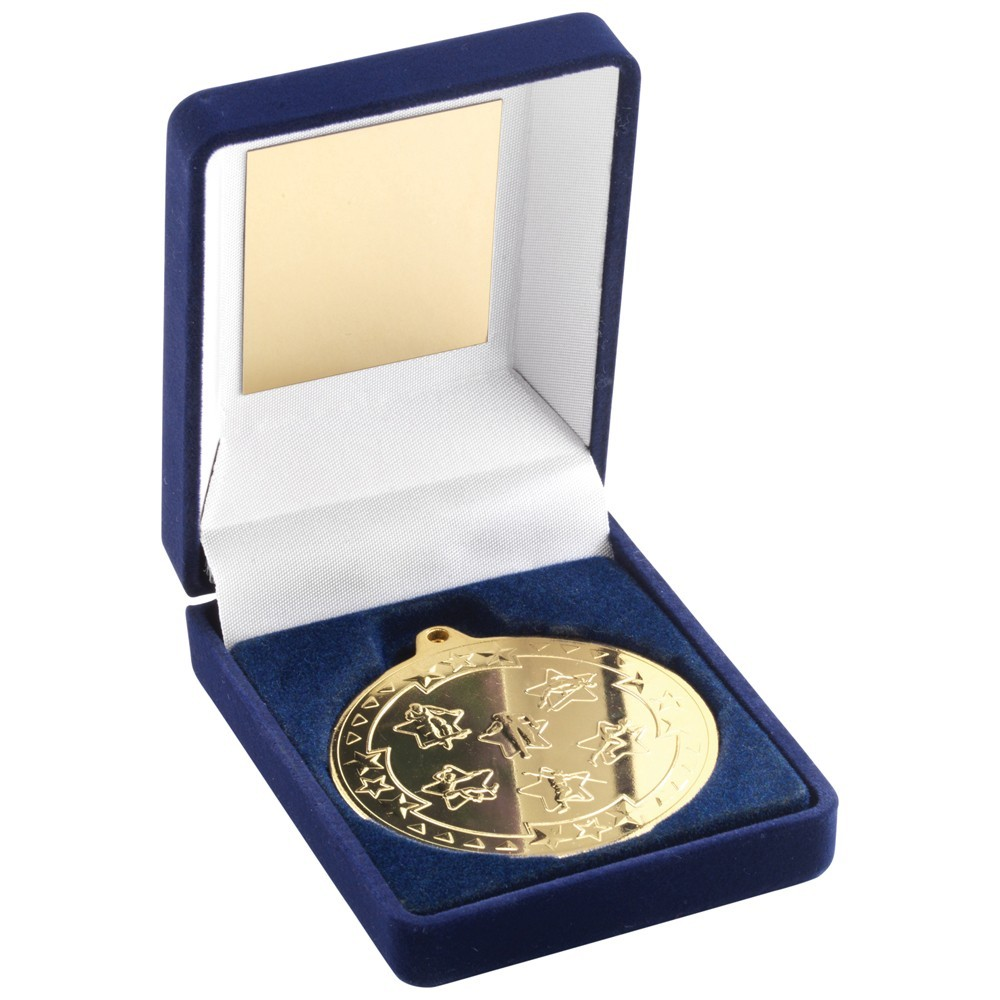 9cm Blue Velvet Box & Multi Athletics Medal - Gold 3.5In
