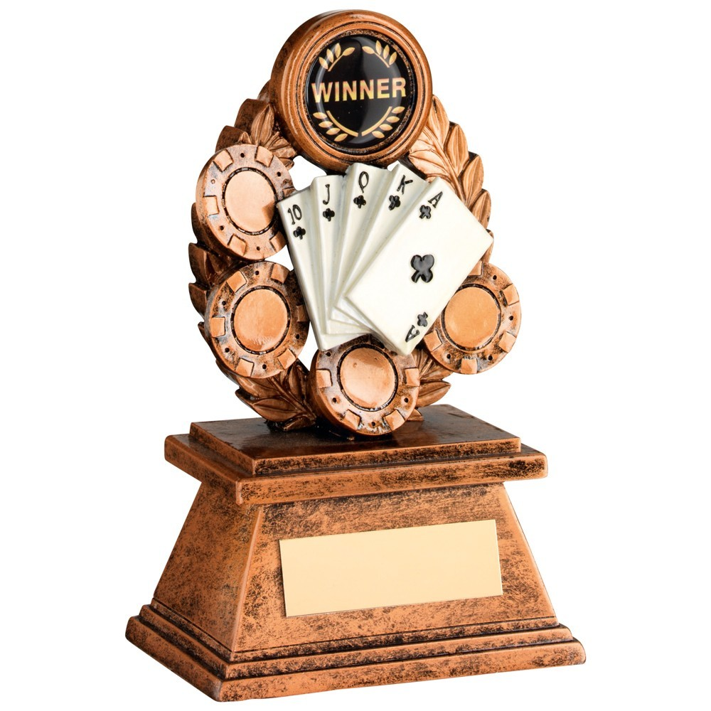 Bronze And Gold 'Poker' Oval Wreath Trophy