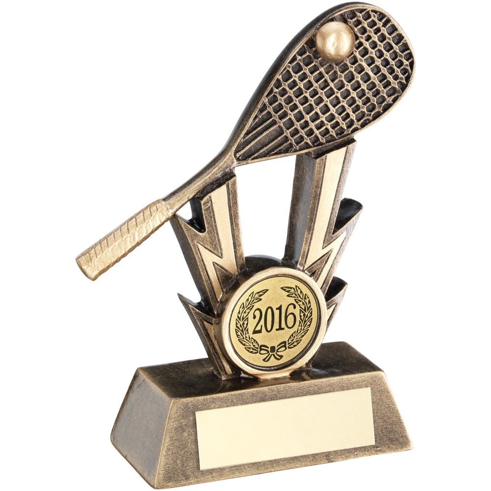 Bronze And Gold Squash Racket On Strikes Trophy