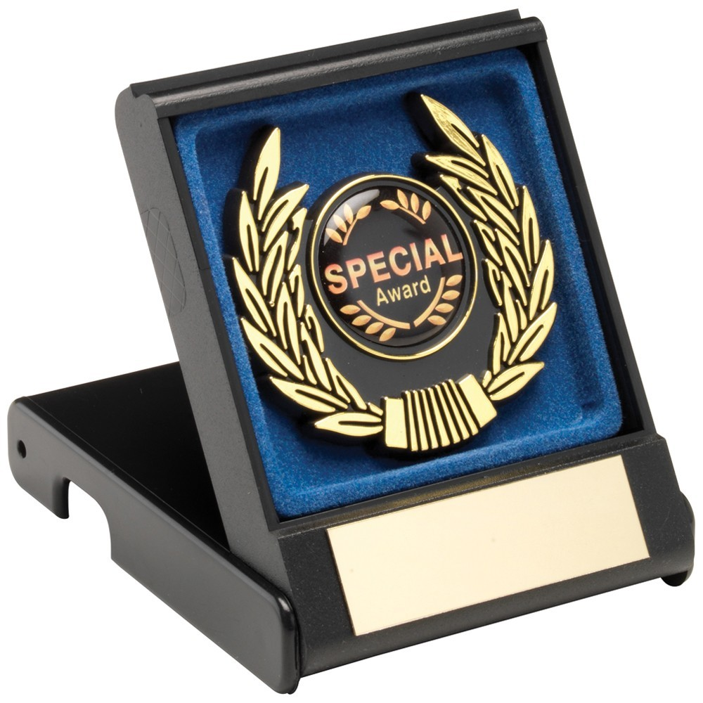 Black And Blue Plastic Box With Gold Trim Trophy