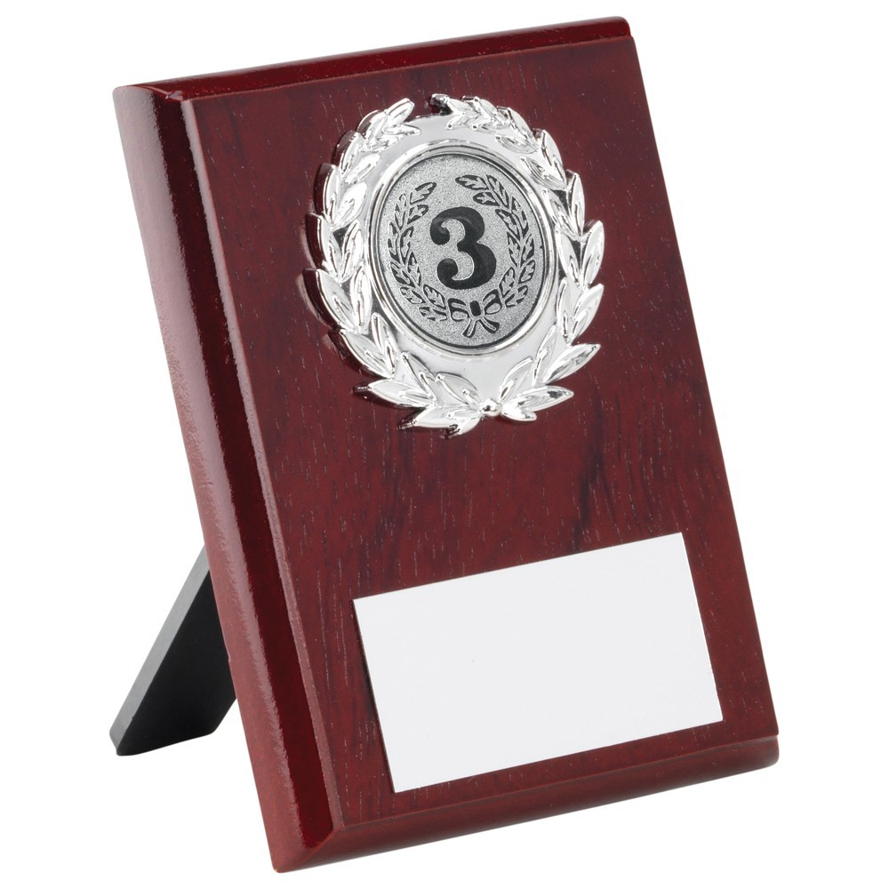 Rosewood Plaque With Silver Trim Trophy