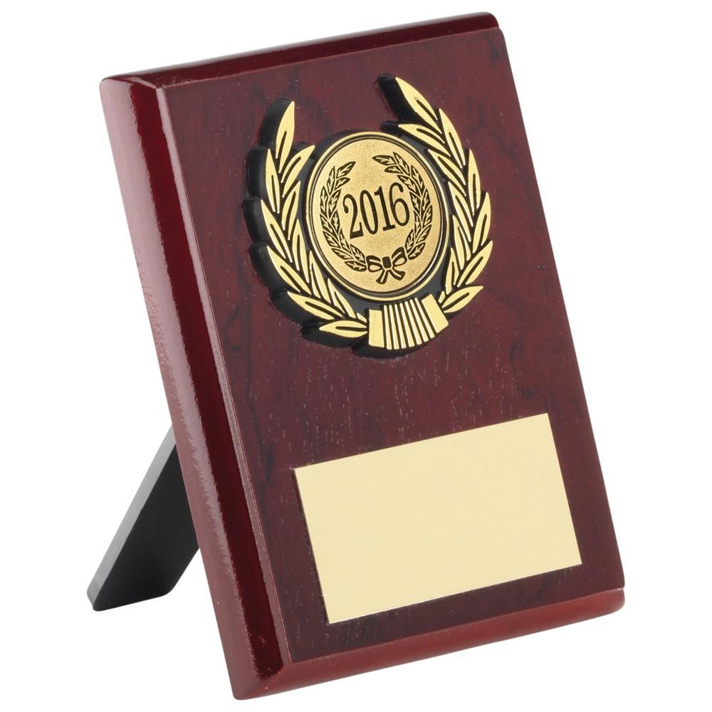 10.5cm Rosewood Plaque+Gold Trim Trophy