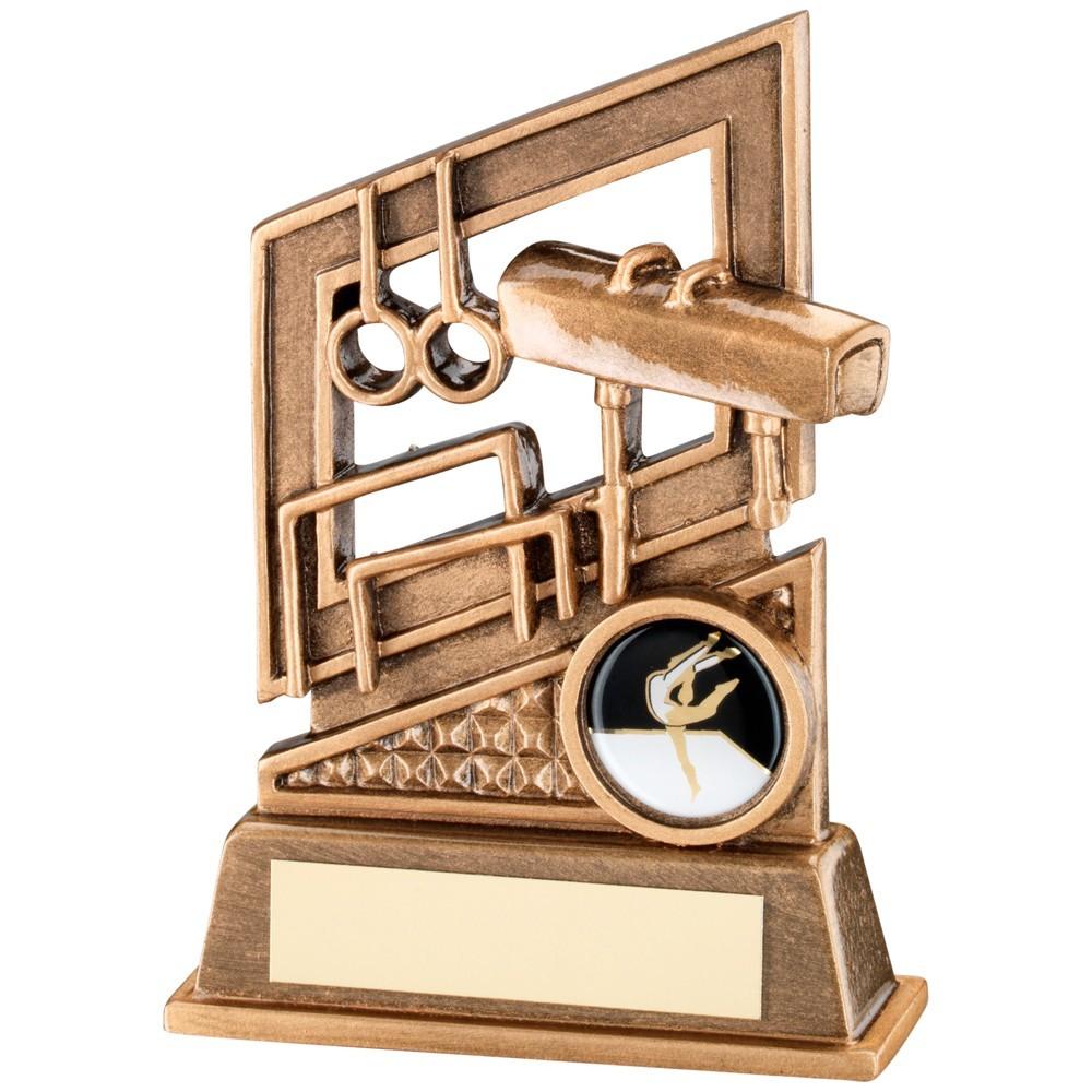 13.5cm Bronze & Gold Gymnastics Diamond Series Trophy - 5.25In