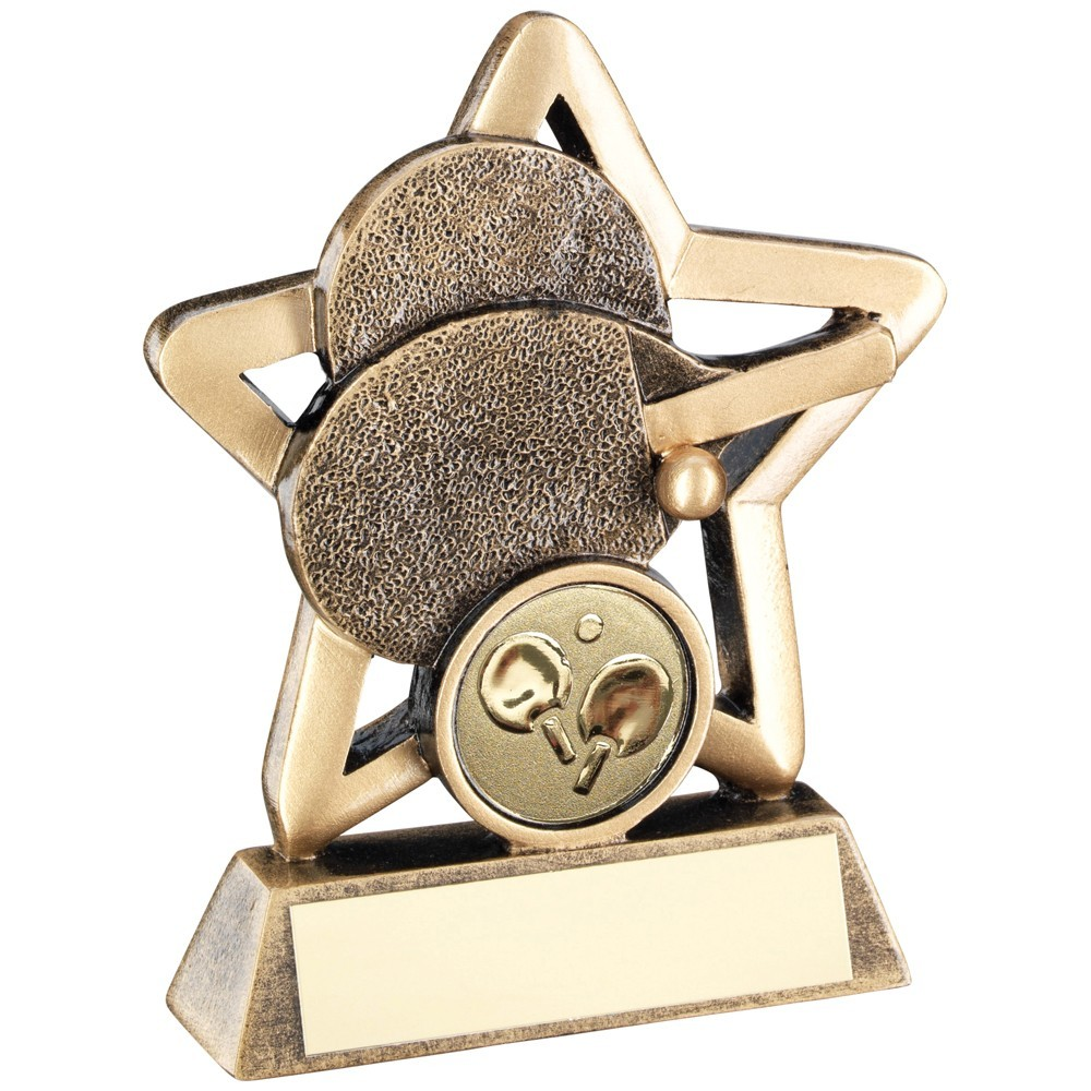 9.5cm Bronze & Gold Table Tennis Mini Star Trophy