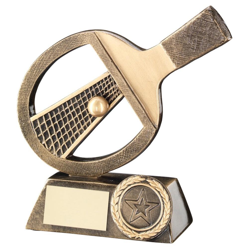 13cm Bronze & Gold Table Tennis Bat & Net & Ball Trophy - 5In