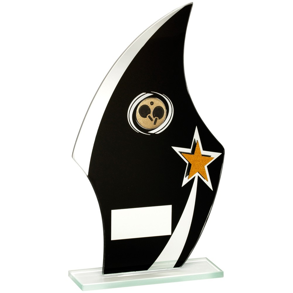 Jade Glass Flame Plaque Black, Silver And Gold With Table Tennis Insert Trophy