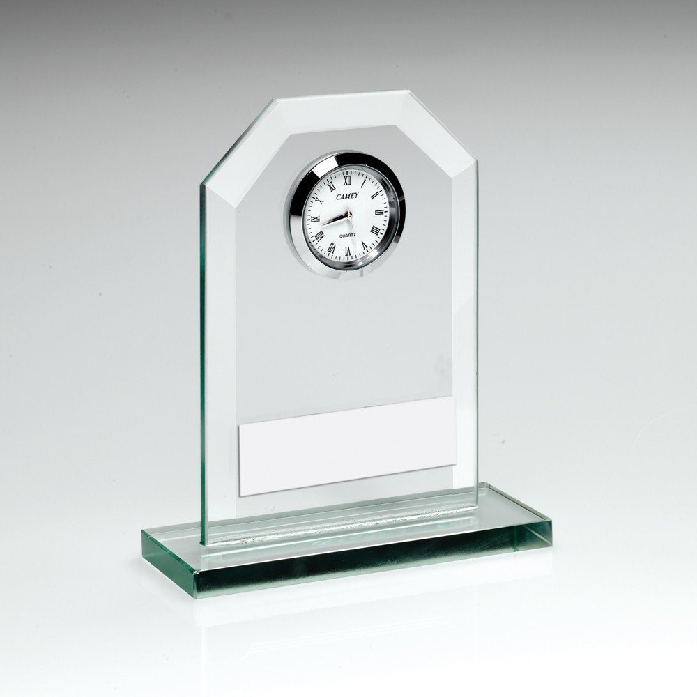 11cm Jade Glass Clock Trophy