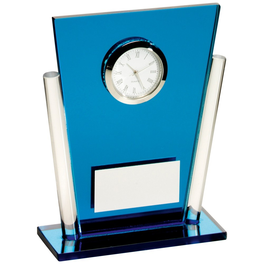 13.5cm Blue & Clear Glass Tapered Rectangle Clock Trophy