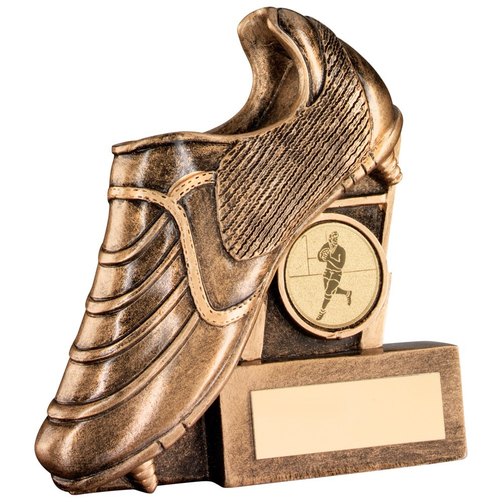 Bronze And Gold Resin Rugby Boot With Posts Flatback Trophy