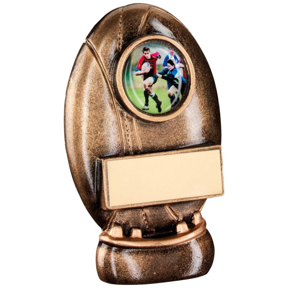 Bronze And Gold Resin Rugby Ball With Kicking Tee Trophy