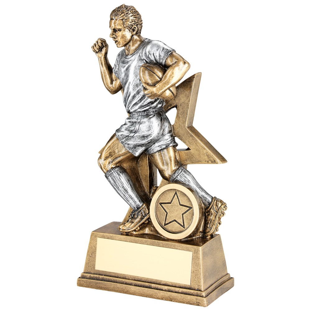 Brz/Pew Male Rugby Figure With Star Backing Trophy (1 inch Centre) - 6 inch