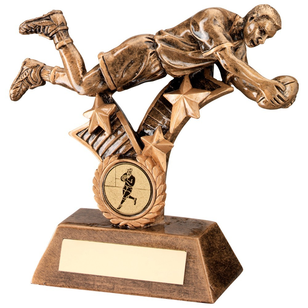 Bronze And Gold Resin Rugby 'Diving' Figure Trophy