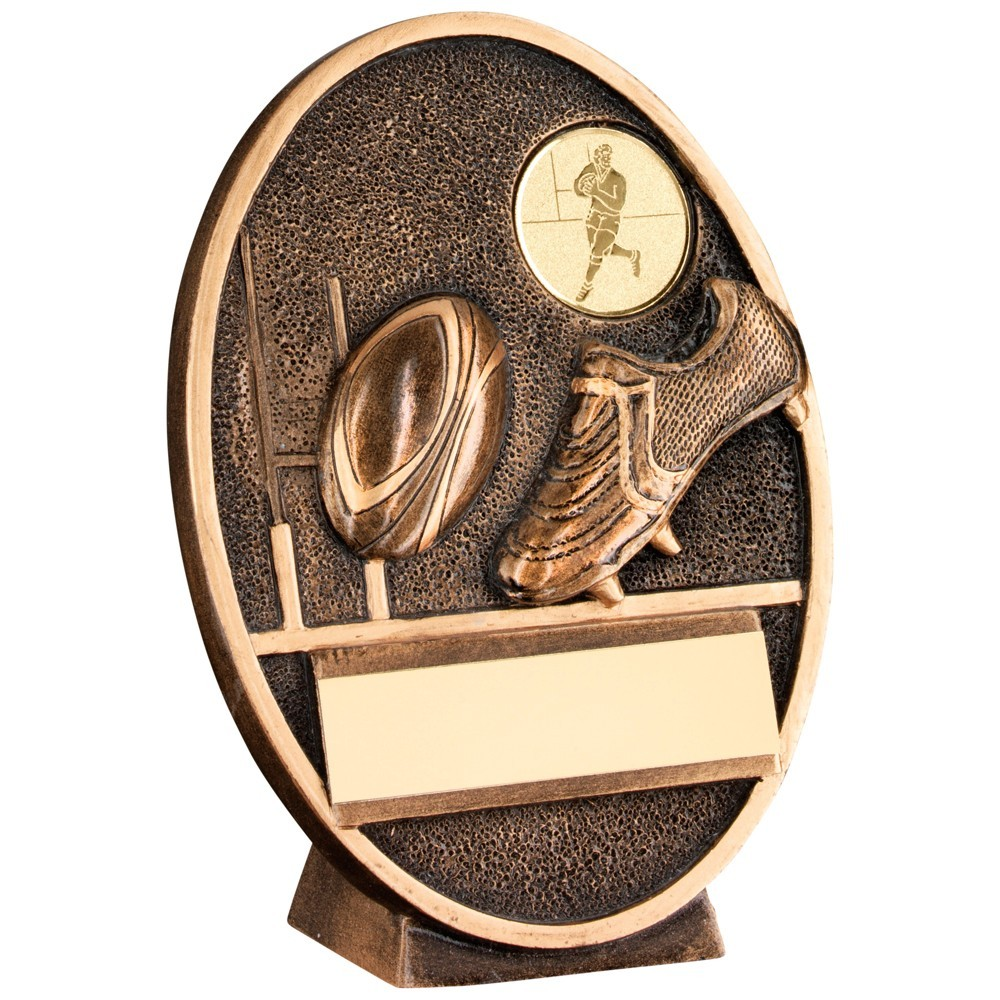 Terrific Bronze and Gold Boot and Ball Oval Plaque Trophy - Available in 3 sizes.
