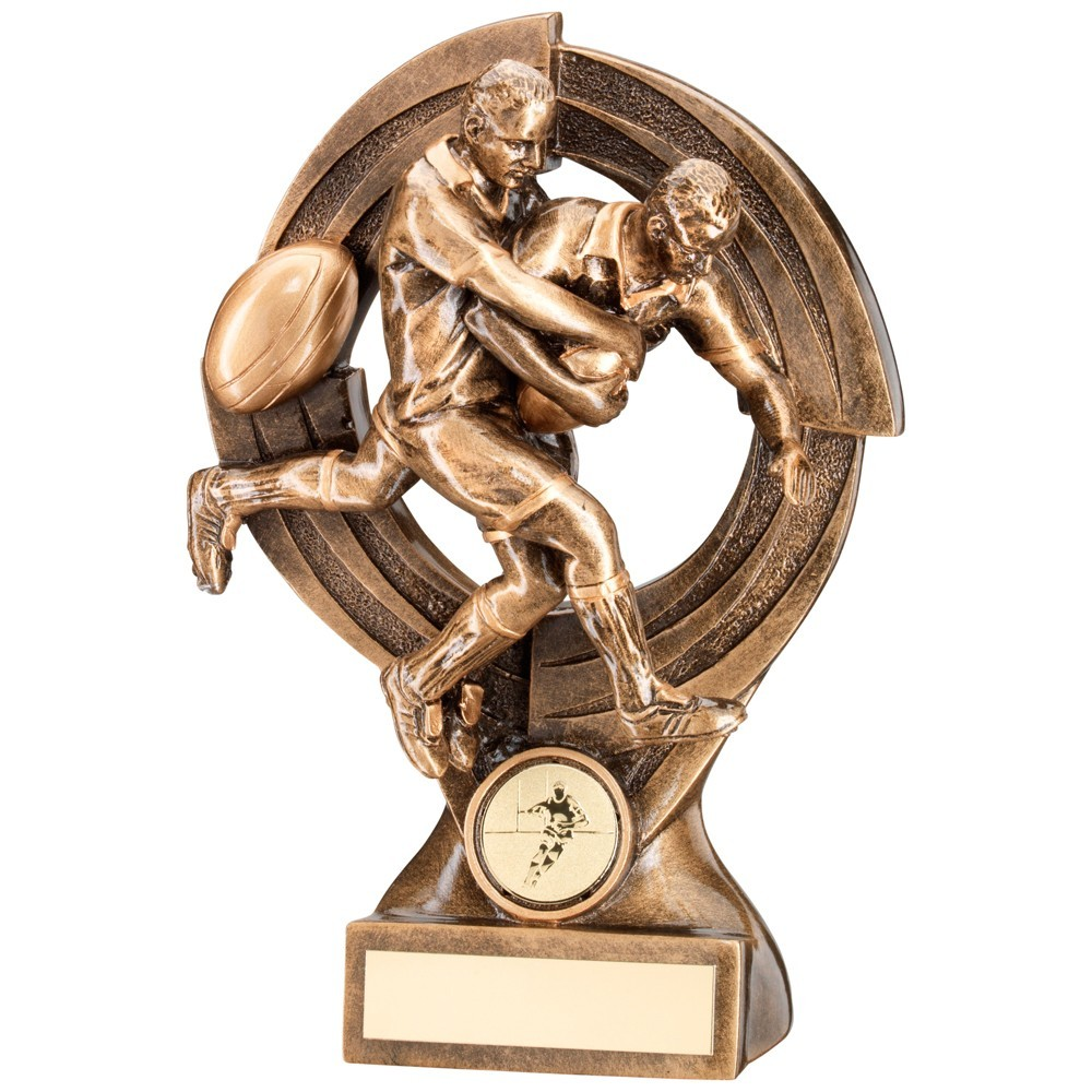 Bronze And Gold Rugby 'Quartz' Figure Trophy