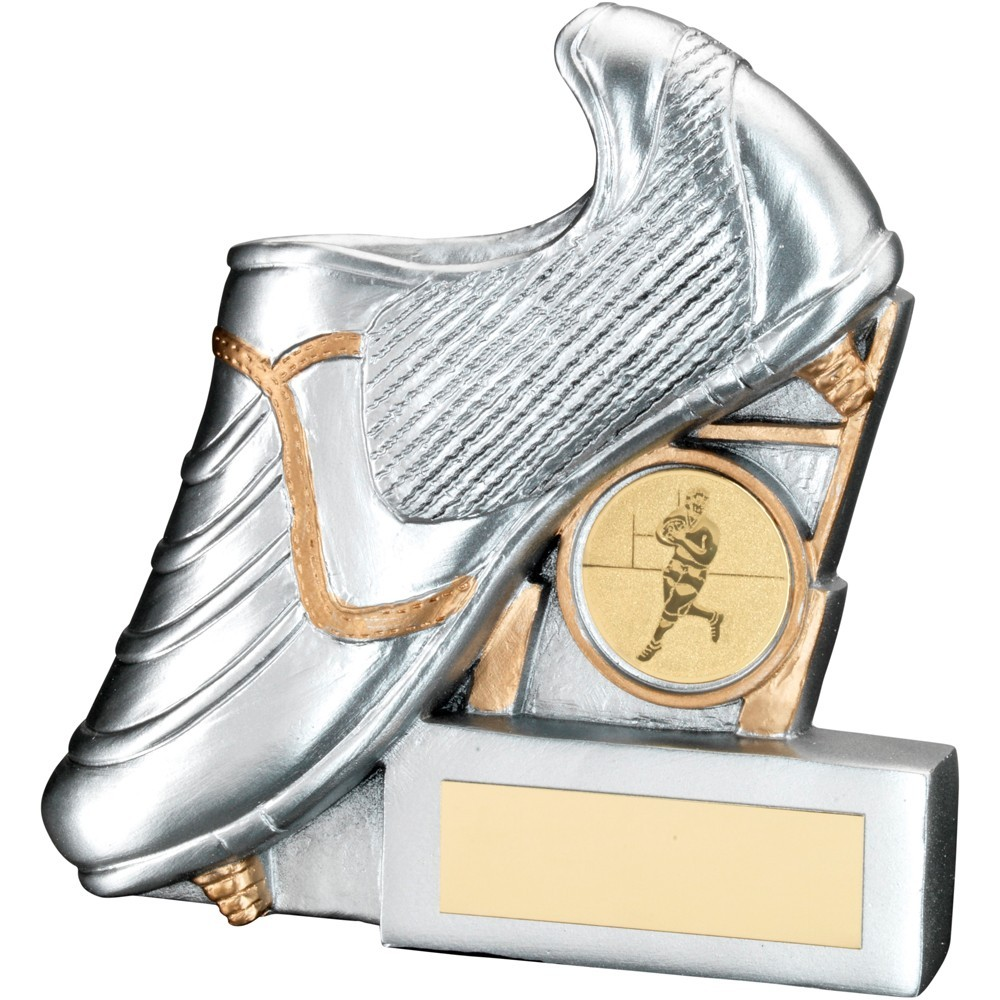 Silv/Gold Resin Rugby Boot With Posts Flatback Trophy