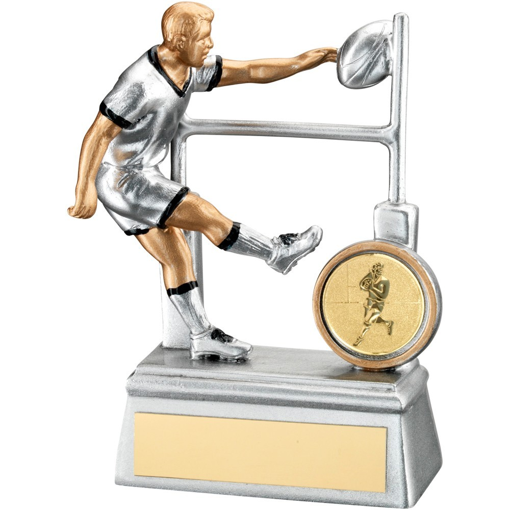 Silver, Gold And Black Resin Rugby Player With Posts Trophy