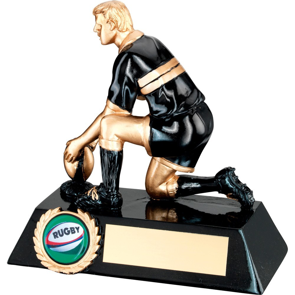 Black And Gold Resin Rugby 'Kicker' Trophy
