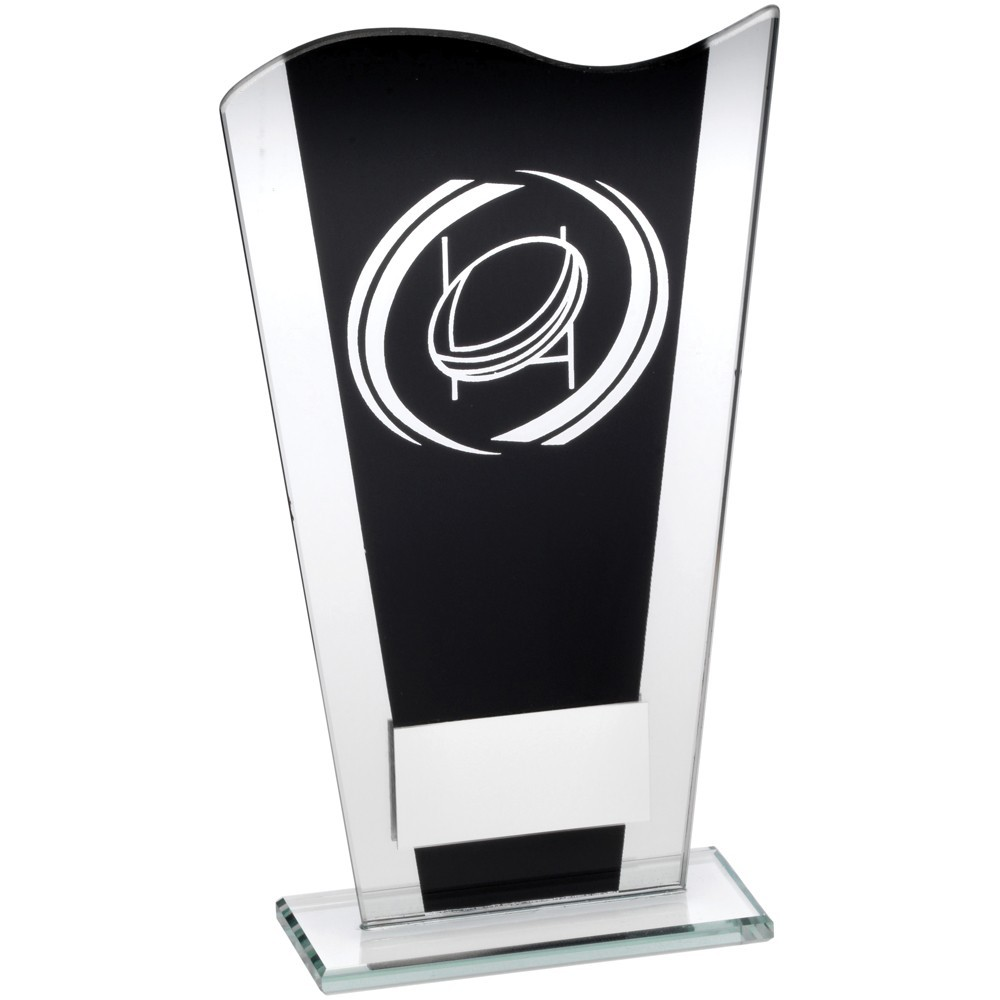 Black And Silver Printed Glass Plaque With Silver Rugby Swirl Trophy